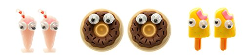 Price comparison product image Frogsac Delicious Earrings Studs with Googly Eyes (Milk Shake, Donut, Vanilla Ice Cream)