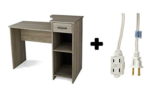 Student Desk - Home/Office Furniture Indoor Desk with adjustable shelf in Rustic Oak Plus 6ft Indoor 3-Outlet Extension Chord - Bundle (Rustic Oak Extension)