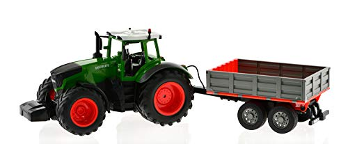 Remote Controlled Tractor with Detachable Trailer That can be Raised and Lowered from The Remote. Die-Cast Tractor Model Kids Electronics Hobby Toy with Sound and Lights. (Rc Tractor Tires)