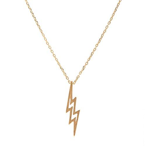 chelseachicNYC Handmade Brush Metal Lightning Bolt Necklace Matte Gold
