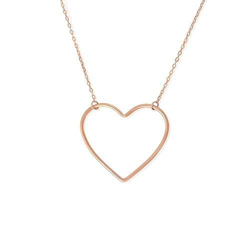 Large Open Heart Charm Necklace, Real Sterling Silver 925 (Rose Gold)