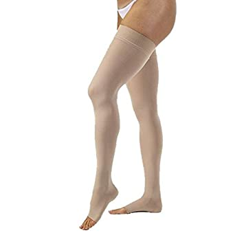 4567a35bcd Women's Opaque 30-40 mmHg Open Toe Thigh High Extra Firm Support Stocking  Size: Large, Color: Silky Beige