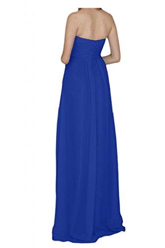 Por la noche en forma de corazón diseño de la Toscana de novia de la gasa de fiesta largo bola de dama de honor vestidos de Prom vestidos Azul Real