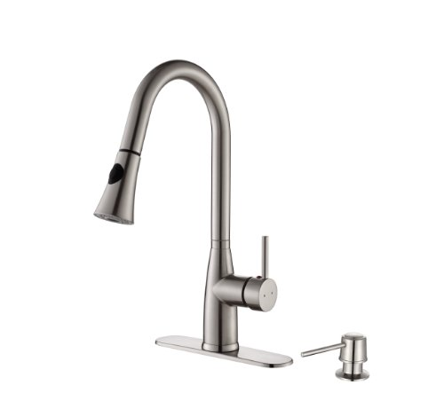 KPF-2300 Kraus Single Lever Pull-down Kitchen Faucet and Soap Dispenser Stainless Steel Finish ()