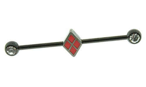 DC Comcs Harley Quinn 14G Industrial Barbell with Gems (Gem Industrial Barbell compare prices)