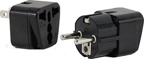 High Quality US to VIETNAM/SOUTH KOREA Travel Adapter Plug for USA/Universal to ASIA Type E (C/F) & A AC Power Plugs Pack of 2