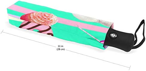 Chovy 折りたたみ傘 軽量 自動開閉 晴雨兼用 レディース 日傘 UVカット 遮光 ワンタッチ メンズ ネコ 猫 猫柄 ドーナツ アイスクリーム かわいい 可愛い 雨傘 傘 晴雨傘 折り畳み 8本骨 遮熱 丈夫 耐風撥水 収納ポーチ付き プレゼント
