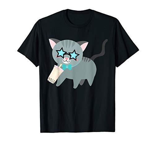 Cat With Shade Drinking Boba Milk Tea Kawaii -