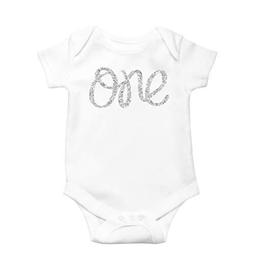 t Birthday Onesie Girl Glitter Onesie Silver 1st Birthday Onesie for Baby Girls ()