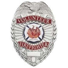Volunteer Firefighter - Oval W/scramble (NICKEL) (Firefighter Badges)