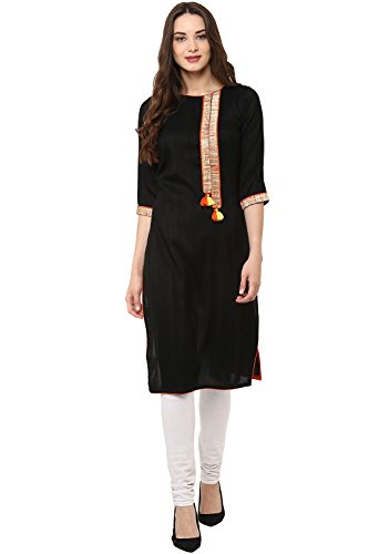 Janasya Womens Straight Cotton Kurta   JNE1871-KR-CS116 Bla