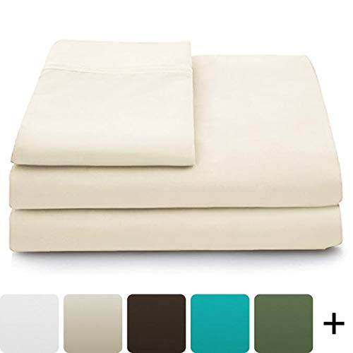 Cosy House Collection Luxury Bamboo Bed Sheet Set - Hypoallergenic Bedding Blend from Natural Bamboo Fiber - Resists Wrinkles - 4 Piece - 1 Fitted Sheet, 1 Flat, 2 Pillowcases - Queen, Cream 2 Pack Flat Sheets