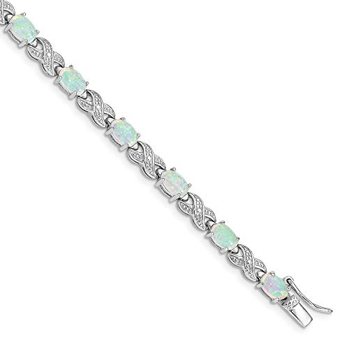 925 Sterling Silver 7 Inch Created Opal Illusion Bracelet Gemstone Fine Jewelry Gifts For Women For Her
