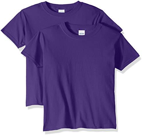 Gildan Kids' Big Heavy Cotton Youth T-Shirt, 2-Pack, Purple, Small