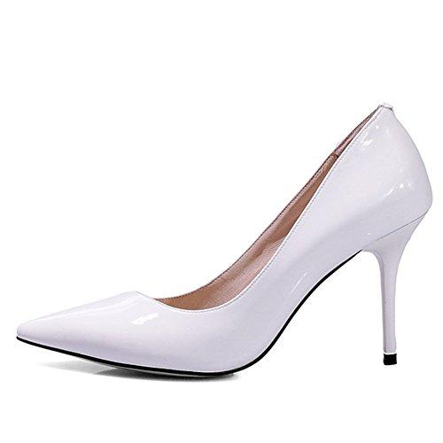 Nine Seven Cuero Moda Puntiagudos Zapatos de Tacón Aguja de Vestir para Mujer blanco