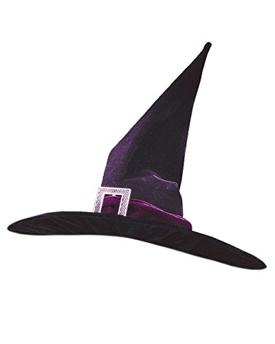 Black Classic Witch Hat Pleated Velour Theatre Costumes Accessory Sizes: One Size