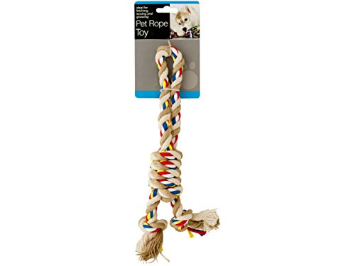 Bulk Buys Colorful Knotted Pet Rope Toy With Handle - Pack of 12 ()