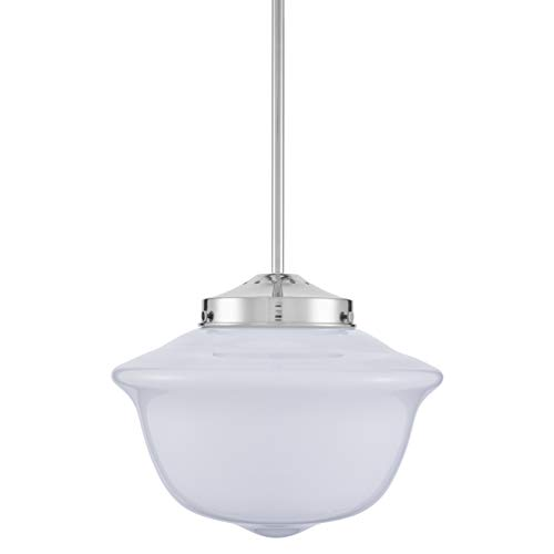 Lavagna Schoolhouse Pendant - Chrome w/Milk Glass Shade - Linea di Liara LL-P272-MILK-PC