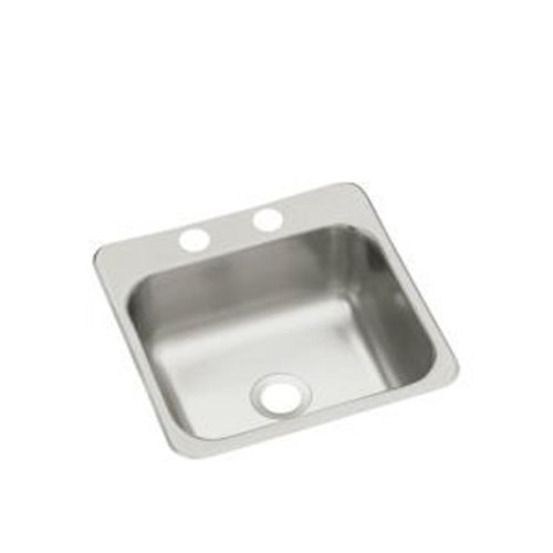 2in Depth Single Bowl Sink - Sterling B155-1 Secondary Sink 15-Inch by 15-Inch Top-mount Single Bowl Bar Sink, Stainless Steel
