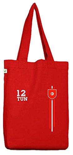 ShirtStreet Tunisia Soccer World Cup Fussball WM Fanfest Gruppen Bio Baumwoll Jutebeutel Stoffbeutel Streifen Trikot Tunesien Red