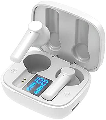 Wireless Earbuds with Extra Deep Bass, IPX5 Waterproof Stereo in Ear Built in Mic Bluetooth Earbuds, Touch Control Headset with Charge (Color : White) (Color : White)