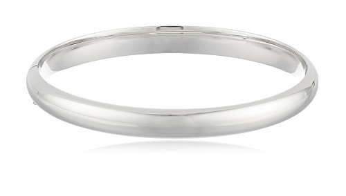 Sterling Silver Polished Guard and Hinge Bangle Bracelet (Sterling Silver Hinge Bracelet)