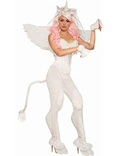 (Forum Women's Unicorn Pants with Tail Adult Costume, White, One)
