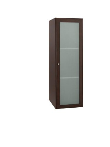 (Ronbow Essentials Shaker 15 Inch Bathroom Linen Cabinet Storage Tower in White, with One Frosted Glass Door and Two Adjustable Shelves 679015-1-W01)