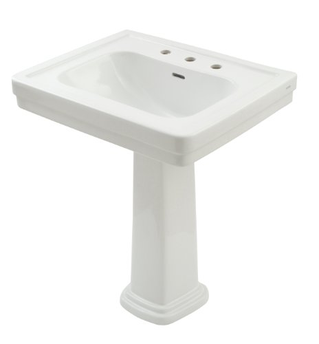 TOTO LPT530.8N#01 Promenade Lavatory and Pedestal with 8-Inch Centers, Cotton - Pedestal Lavatory Inch 8