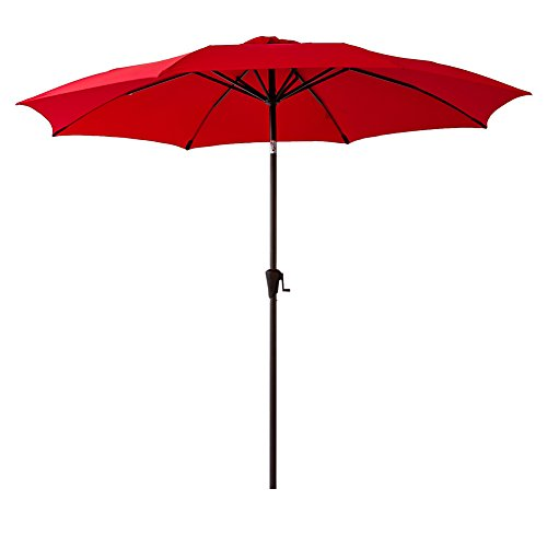 FLAME&SHADE 10' Patio Market Umbrella for Outdoor Table Balcony Outside Terrace Deck Yard or Pool with Tilt, -