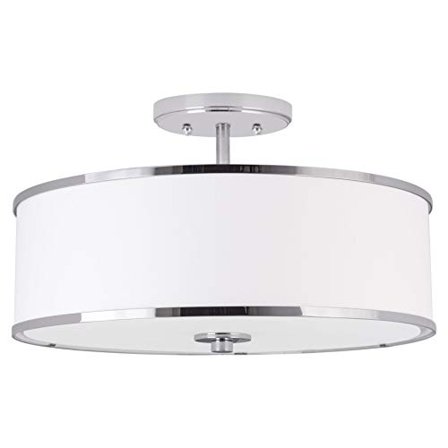 Kira Home Chloe 15'' Modern Ceiling Light Semi Flush Mount + White Drum Shade, 3-Light, LED Compatible, Tempered Glass Diffuser, Chrome Trim Finish by Kira Home