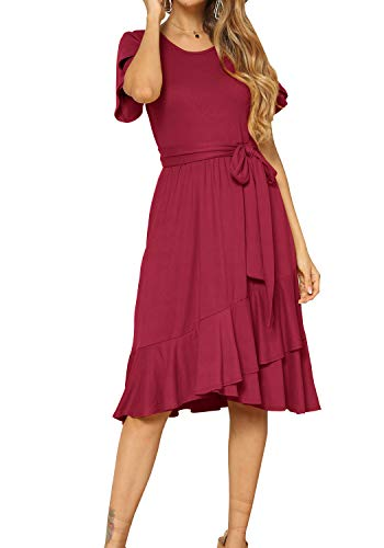 levaca Women Plain Casual Swing Ruffle Midi Dress with Belt Wine S