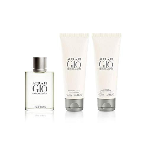 Giorgio Armàni Acqua Di Gio 3 Piece GIFT SET for Men 1.7 fl.Oz Eau De Toilette + 2.5 fl.Oz All Over Body Shampoo + 2.5 fl.Oz After Shave Balm