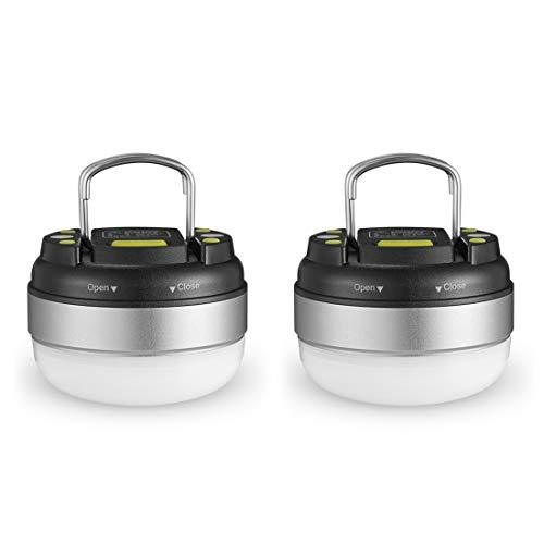 Ubetter LEDランタン 電池式 【明るさ130ルーメン/実用点灯7-27時間/防滴】3つの点灯モード 電球色 アウトドア/応急/防災用品 2個セット シルバー