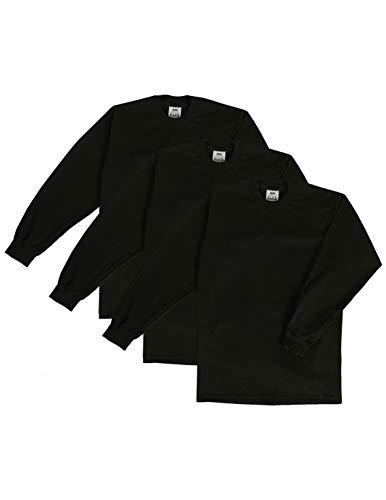 - Pro Club Men's 3-Pack Heavyweight Cotton Long Sleeve Crew Neck T-Shirt, Black, Large