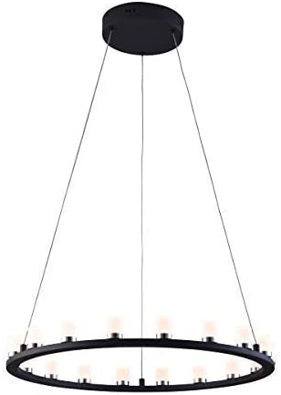 mirrea 36W Modern Dimmable LED Chandelier Pendant Light Warm White Round Shape Matte Steel Black Painted