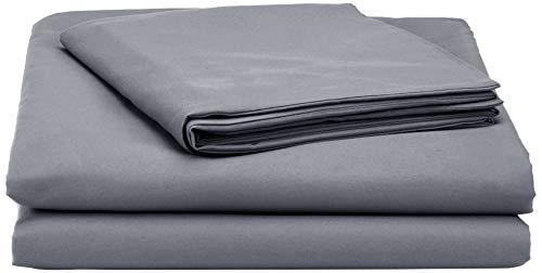 AmazonBasics - Juego de fundas de edredon y de almohada de microfibra, 135 x 200 cm + 1 funda 50 x 80 cm - Gris oscuro