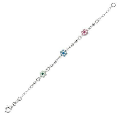 Sterling Silver White 6 Inch Polish Rohdium Finish Oval Flower Charm Bead Girls Bangle Bracelet