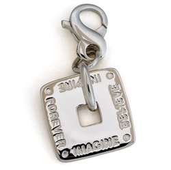 Square Sentiments Charm, Sterling Silver