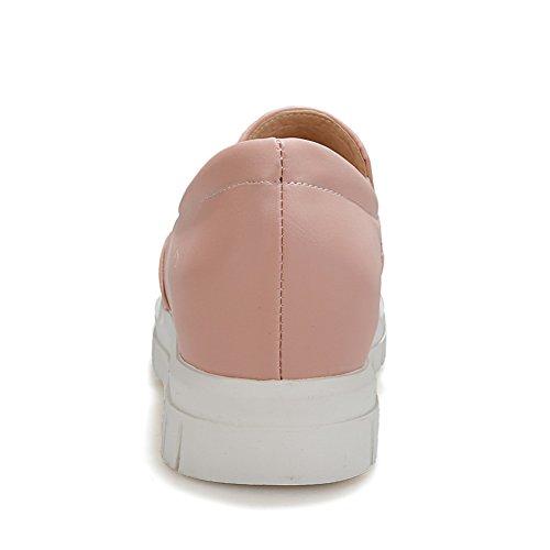 Balamasa Dames Plate-forme À Bout Rond En Microfibre Plat-chaussures Plates Rose