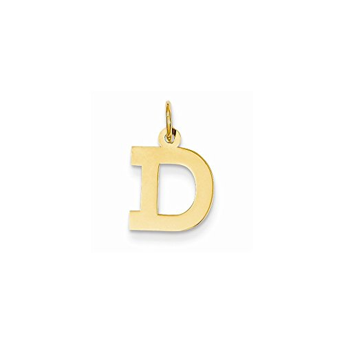 14k Yellow Gold Small Block Initial D Charm