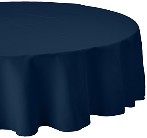 LinenTablecloth 90-Inch Round Polyester Tablecloth Navy Blue (Blue Round Tablecloth Linen)