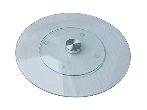 "Qornerstone Tempered Glass Lazy Susan – Round, Clear Rotating Serving Plate – Ideal for Family Dining – Make Sharing Meals Easy and Fun! - Approximately 10"" in Diameter"