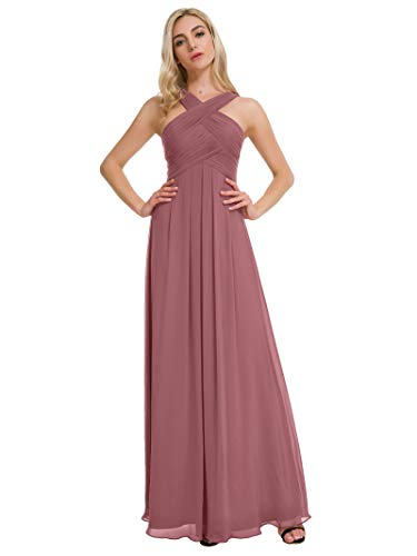 (Alicepub Pleated Chiffon Bridesmaid Dresses Formal Party Evening Gown Maxi Dress for Women, Dusty Rose, US6)