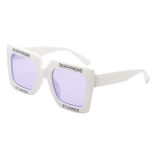 Gafas Gafas tamaño UV400 Blanco lente transparentes ligeras Gafas de que elegantes de de bloquean sol Morado cuadradas de Hzjundasi gran plástico Avpdqwv