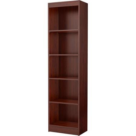 Functional and Attractive 5-shelf Narrow Bookcase (Royal Cherry Finish) with 2- Fixed Shelves and 3- Adjustable Shelves, Made From Non-toxic Materials and Components