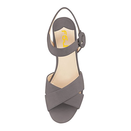 FSJ Women Summer Ankle Strap Chunky Heel Sandals Peep Toe Platform Comfortable Shoes Size 4-15 US Grey release dates sale online for sale finishline 100% authentic sale online bsbDsP