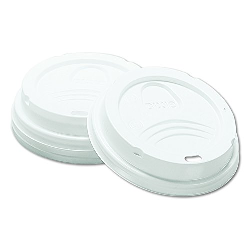Dixie 8 oz. Dome Plastic Hot Coffee Cup Lid by GP PRO (Georgia-Pacific), White, 9538DX, 1,000 Count (100 Lids Per Sleeve, 10 Sleeves Per Case)