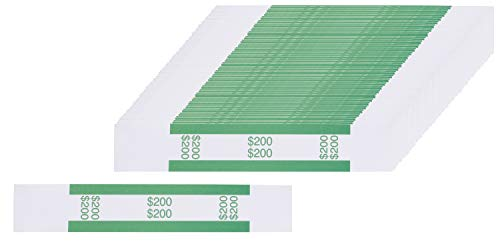 Currency Bands – 300-Count $200 Dollar Bill Wrappers, Money Bands, Currency Straps to Organize Bills, ABA Standard Colors, Self-Adhesive, Green, 7.55 x 1.25 Inches