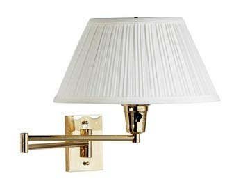 - Kenroy 30100PBES-1 Element Swing Arm Wall Lamp, Polished Solid Brass Finish with Eggshell/White Fabric Shade